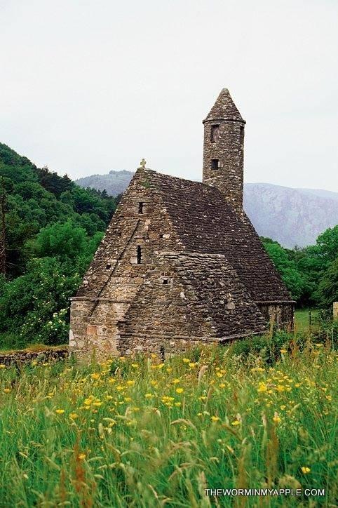 Church on a field, Glendalough, Ireland