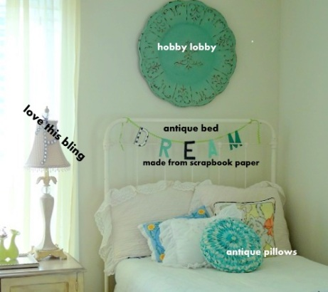 guest bedroom/ everything from thrift stores except round piece ($10.00)form Hobby Lobby which was on clearance. Had a nick I touched up with craft paint.