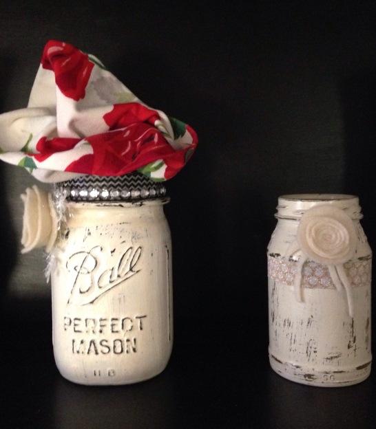 dining room hutch/furniture, chalk-painted jars, etc