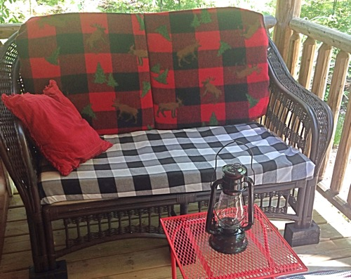 Bunkhouse porch/black settee