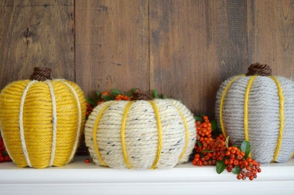 yarn wrapped pumkins