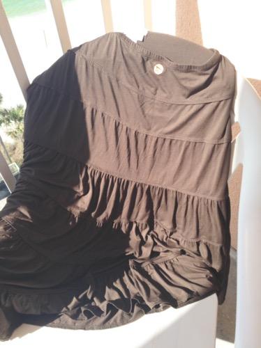 brown flounced skirt