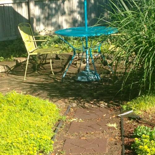 table in garden