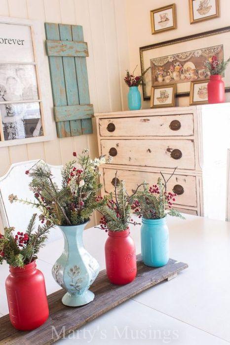 red and aqua decorating