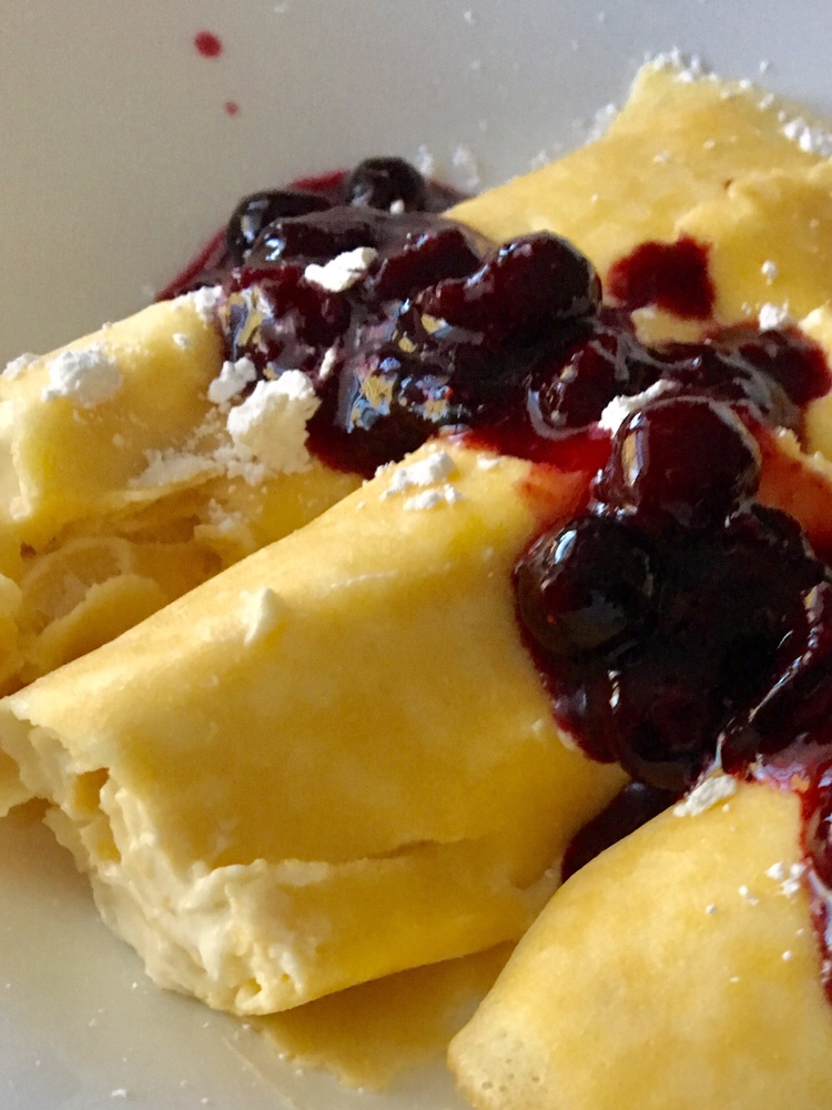 lemon curd/whipped cream, blueberry crepes