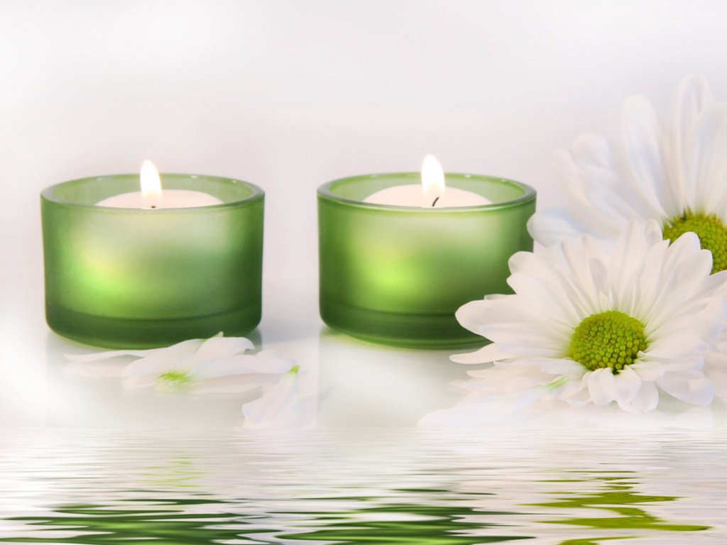 green candles and white flowers/inspirational